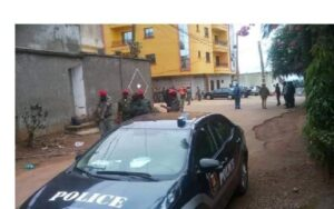 Soldiers in front of the residence of Prof Maurice Kamto in Yaounde