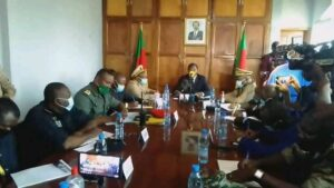 Minister Paul Atanga Nji chairing a security meeting at the NW Governor's office in Bamenda