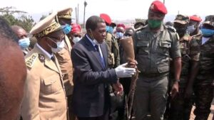 Minister Paul Atanga Nji, receiving the weapons of the former seperatist fighters in Bamenda