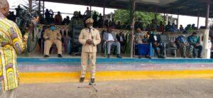 Governor Bernard Okalia Bilai addressing the people at the Mamfe ceremonial ground, Manyu Division, SWR, January 7, 2011