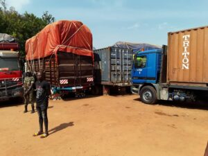 Trucks stranded along the Cameroon- CAR corridor