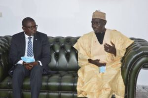 Minister Alamine Ousemane Mey (R) discussing the way forward for development in Cameroon was Mathias Ze Naab