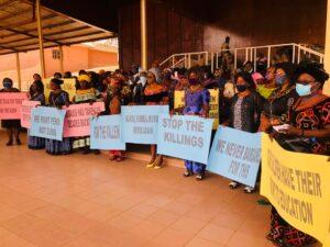 Mafors brandishing placards at the Bamenda Grand Stand on Sunday January 24 2021