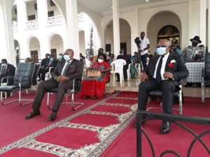 Officials at the ceremony in Yaounde to pay tributes to the fallen Lebialem chiefs