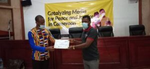 Certificate awards to participant at the end of the Yaounde training