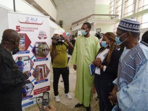 Officials visiting stands during the launching in Yaounde