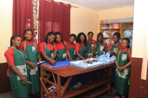 Staff of Rinoo Cameroon inside the cutting room