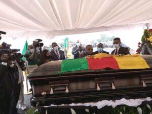 Prime Minister, Dion Ngute Joseph, decorating Simon Achidi Achu, posthumously