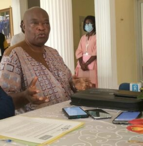 Cameroon's Nutrition Ambassador, former Mayor of Nguelemedouka, Jean Marie Nguele, presenting his nutrition vision to the media in Yaounde