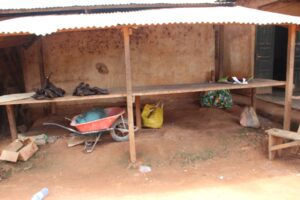Bushmeat section of the market at Mokolo II Denier Poteau in Bertoua, which used to be vibrant, is now almost deserted, with just few bushmeat on the tables of traders (Picture by Solomon Tembang)