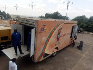 CRTV's outdoor broadcast van stationed at the Yaounde Conference Center