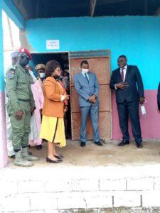 Minister Nalova Lyonga visiting the school infrastructure
